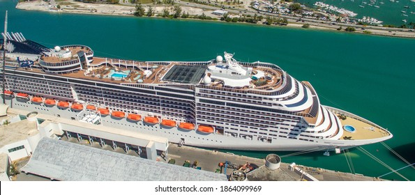 Cruise Ships docked in Miami Port, Florida.