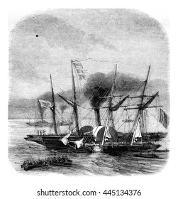 Cruise ships in the Mediterranean, vintage engraved illustration. Magasin Pittoresque 1852.