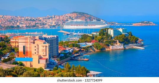 Cruise ships at port of Kusadasi - Aydin, Turkey