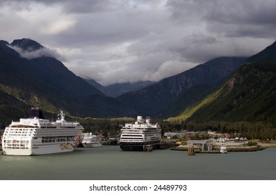 Cruise ships in port, Skagway, Alaska, USA