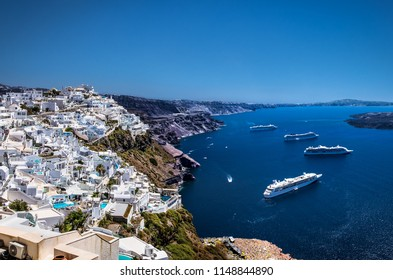 Cruise ships in Thira on Santorini island, Greece