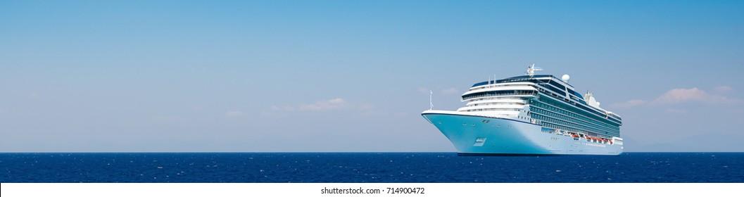 Cruise travel. Cruise ship sailing on the Mediterranean Sea.