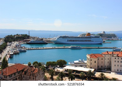 Cruise vacation travel concept illustrated by cruise liner near the coastline, Croatia. View from above