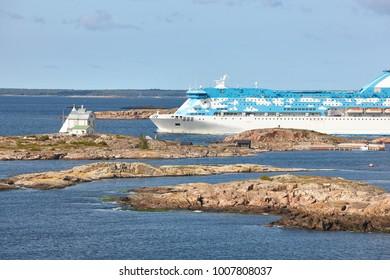 Cruise vessel on the baltic sea. Aland island coastline. Finland tourism