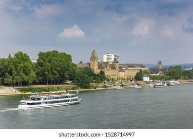 Cruiseboat at the river Rhine near Koblenz, Germany