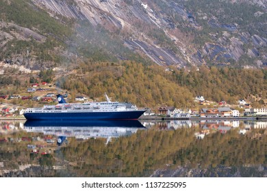Cruised ship has moored in the Hardangerfjord near the Norwegian village Eidfjord