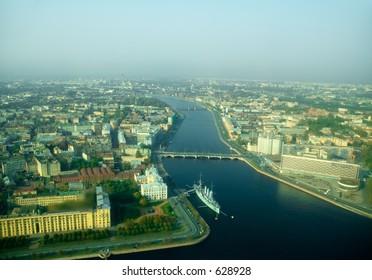 Cruiser Aurora and Neva river - wide angle aerial view [#4907]