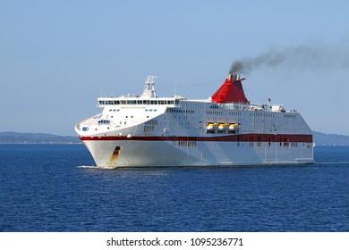 Cruiser ship sails on the Ionian Sea Greece summer season