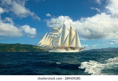 Cruises on sailing ships. Caribbean Islands
