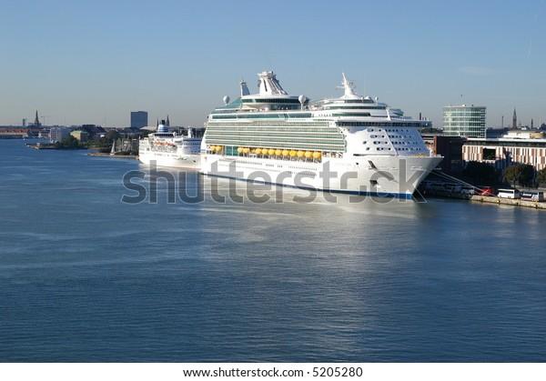 Cruiseship in the harbor in Copenhagen in Denmark