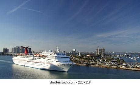 A cruiseship leaving the port of Miami