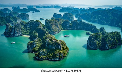 Cruising around Bai Tu Long Bay and Halong Bay, Vietnam