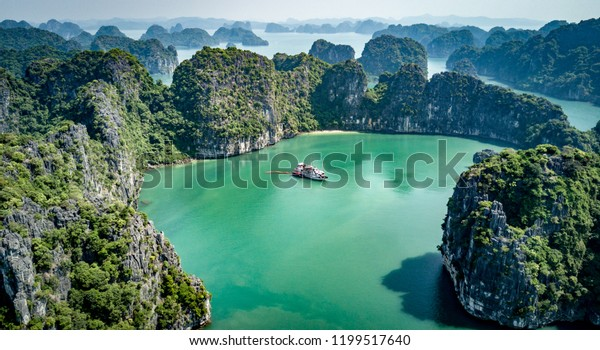 Cruising in Bai Tu Long Bay and Halong Bay, Vietnam