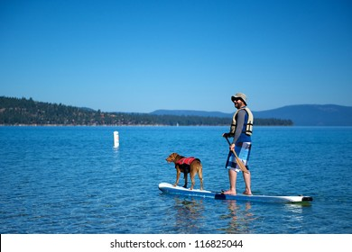 Cruising on a stand-up surfer on Lake Tahoe