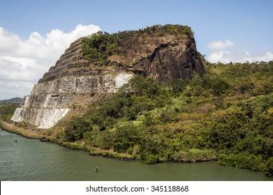Cruising to Panama Canal mountain.