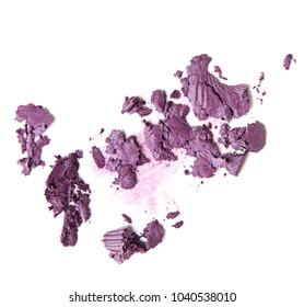crumbled purple eyeshadow isolated on white background