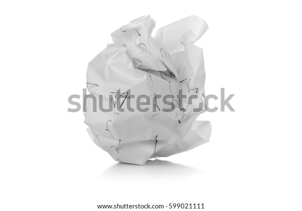 Crumbled white paper ball with pencil writing on white background - waste or fail concept