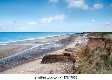 Crumbling cliffs and sea erosion at Happisburgh on the Norfolk coast