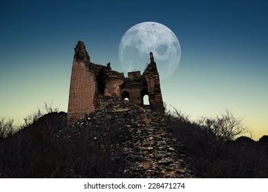 crumbling of  great wall in autumn night