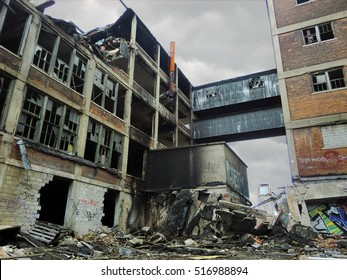 Crumbling industrial factory exterior in Detroit, Michigan