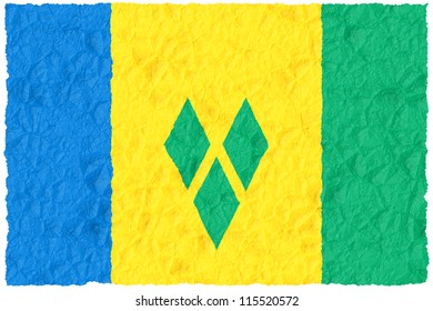 Crumple grunge flag of Saint Vincent and the Grenadines