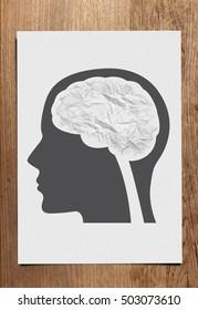 Crumple paper brain concept