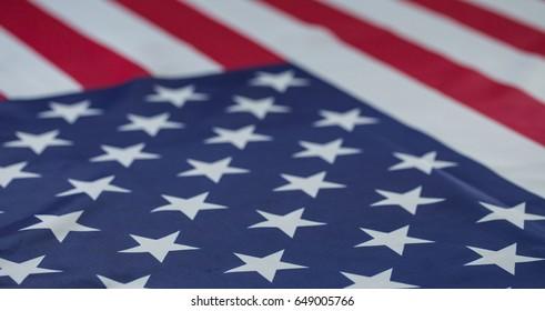 crumpled of American flag