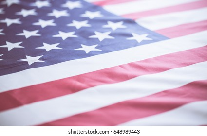 crumpled of American flag with vintage color effected