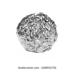 Crumpled ball of aluminum foil isolated on white background