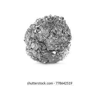 crumpled ball of aluminum foil isolated on white
