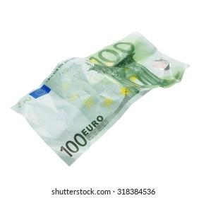 crumpled banknote 100 hundred euros isolation on  white