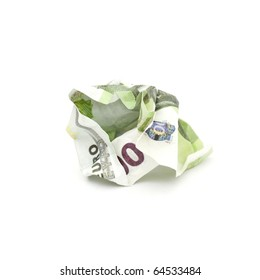 crumpled banknote in a hundred euros on a white background.