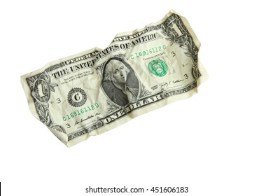 crumpled banknote on a white isolated background.The concept of poverty