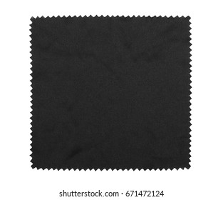 Crumpled black microfiber cloth isolated on white background