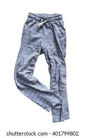 Crumpled blue pajama pants on white background
