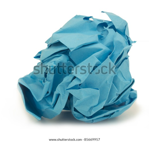 crumpled blue paper over white