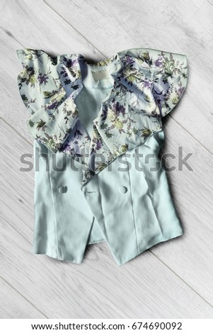 7a0f6b6352a7e7 Crumpled Blue Silk Jacket Lying On Stock Photo (Edit Now) 674690092 ...