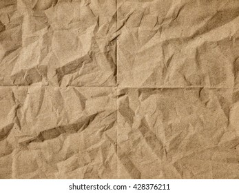 Crumpled Brown Napkin Paper Texture Background