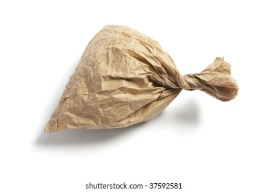 Crumpled Brown Paper Bag on White Background