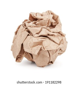 Crumpled brown paper ball isolated on white background