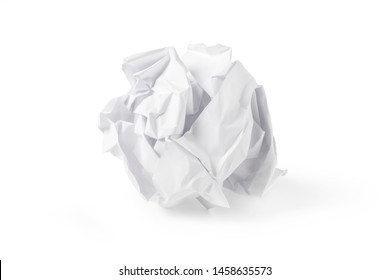 Crumpled clean white paper sheet isolated on white