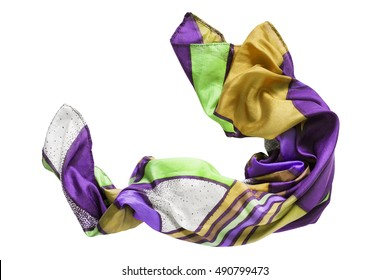 Crumpled colorful silk scarf isolated over white