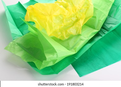 Crumpled crepe paper yellow and green