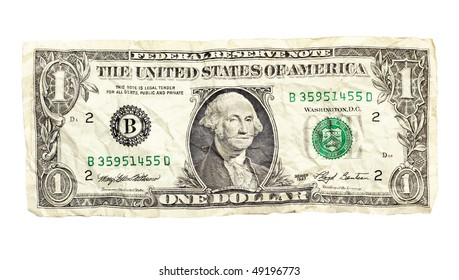 Crumpled dollar isolated