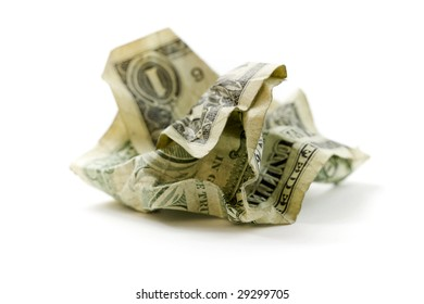 Crumpled Dollar on white