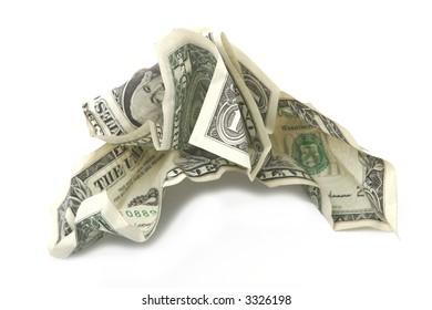 Crumpled dollars