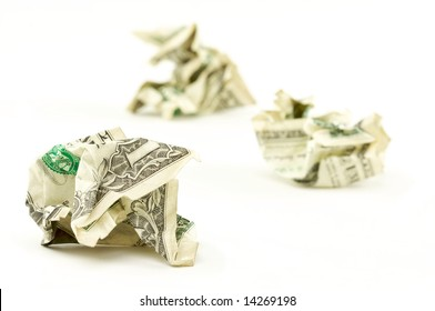 Crumpled Dollars on a White Background.