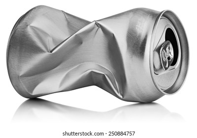 Crumpled empty blank soda or beer can garbage isolated on white background with clipping path