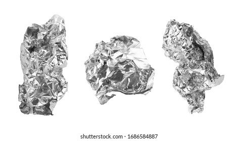 crumpled food foil isolated on white background