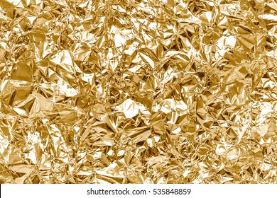Crumpled Golden Foil, Texture Fashion Background